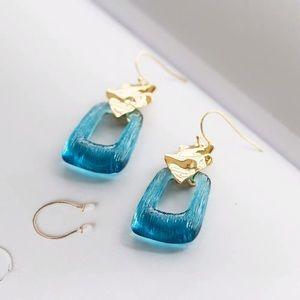 Alexis Bittar Crumpled Blue Dangling Earrings